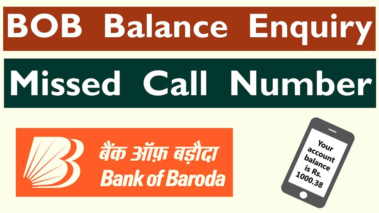 bank of baroda balance check missed call no
