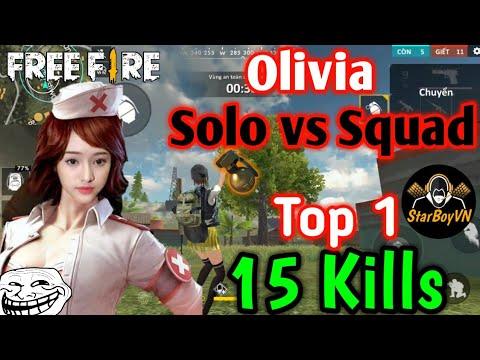 [Garena Free Fire] Y tá Olivia Solo vs Squad 15 Kills Top 1 | StarBoyVN