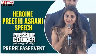 Heroine Preethi Asrani Speech @ Pressure Cooker Movie Pre Release Event
