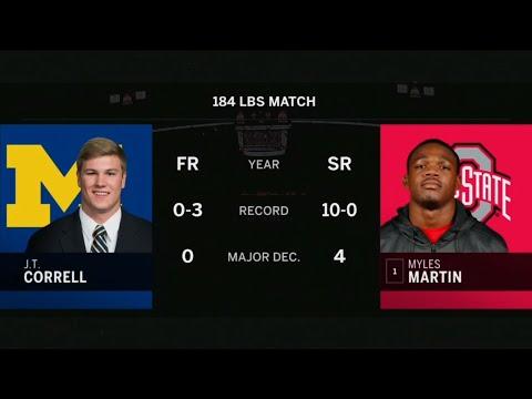 184 LBS: J.T. Correll (Michigan) vs. #1 Myles Martin (Ohio State)