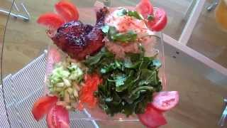 Vietnamese Vermicelli Noodle Dish With Bbq Chicken