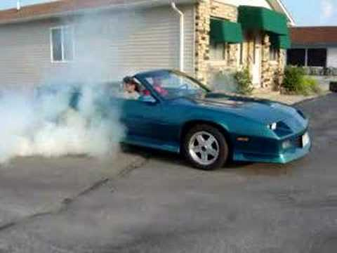 1991 Camaro RS Convertible Burnout  Flowmaster Exhaust  YouTube