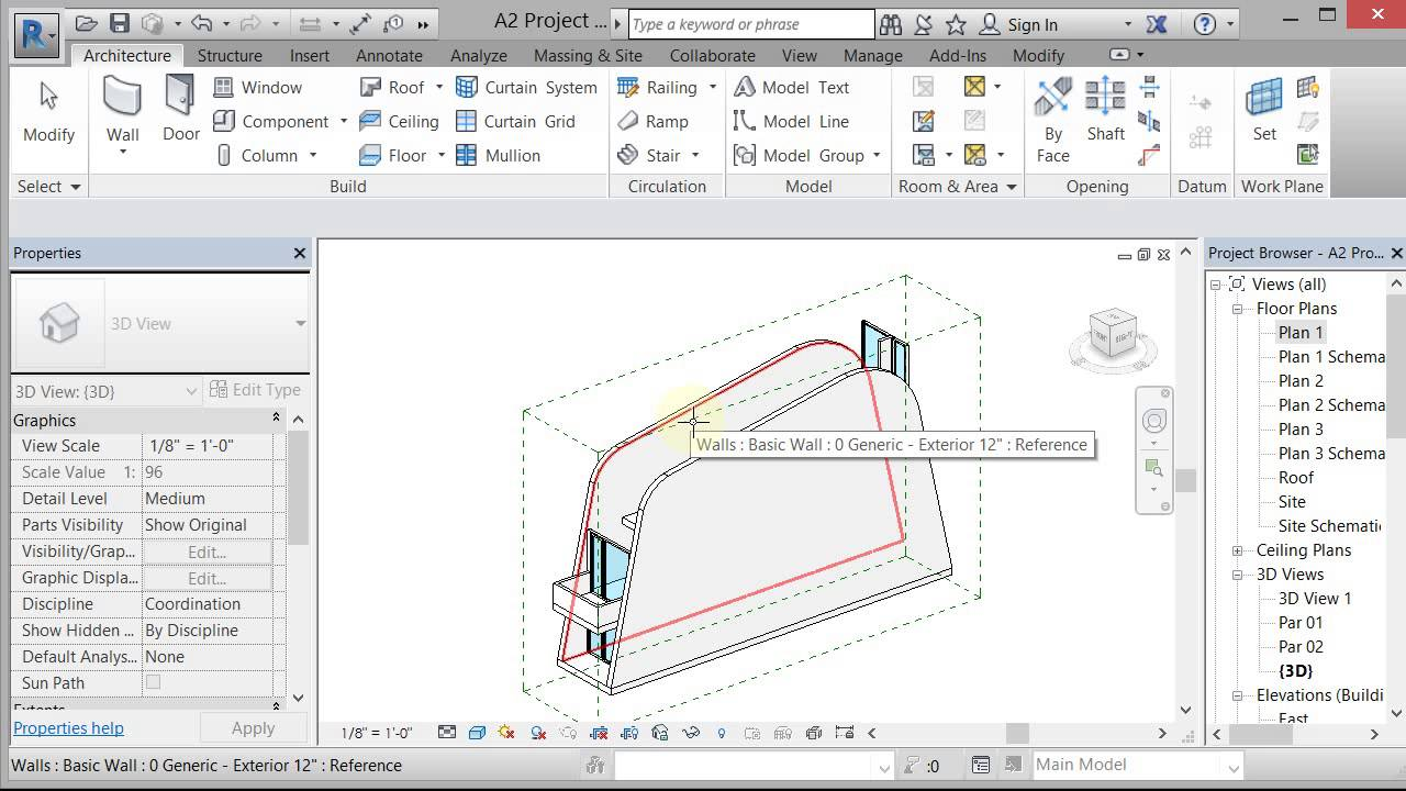 Revit Foba Curved Walls Roof By Extrusion Youtube