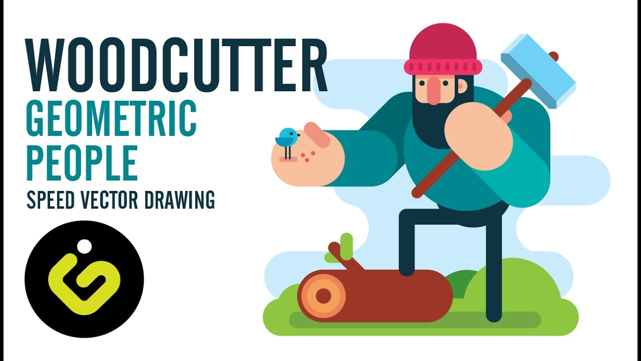 Speed Drawing, How To Draw Flat Character, Woodcutter, Adobe Illustrator  Tutorial