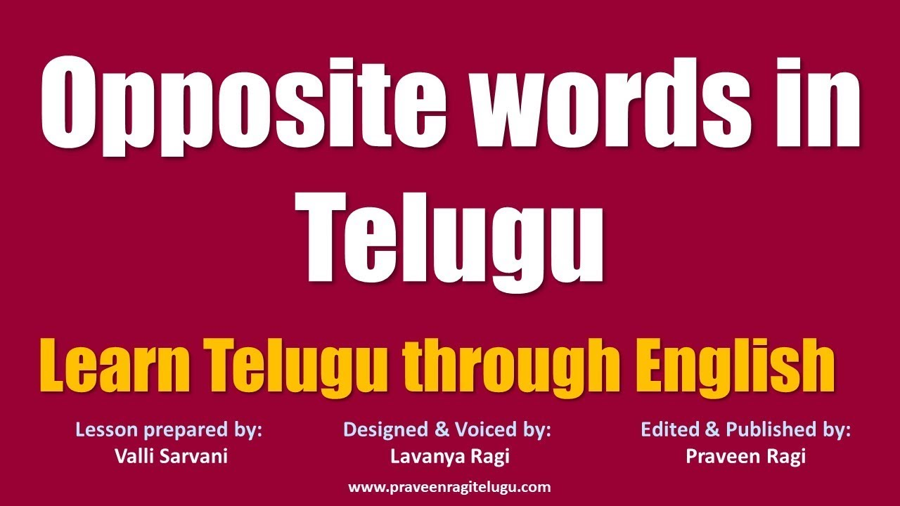 0123-BL - English to Telugu Lesson - Opposite words in Telugu - Learn  Telugu through English