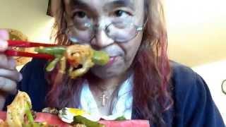 Homemade Crispy Chicken Onion Potato Hash, Okra Asparagus Kimchee Salad And Old Love Letters Asmr