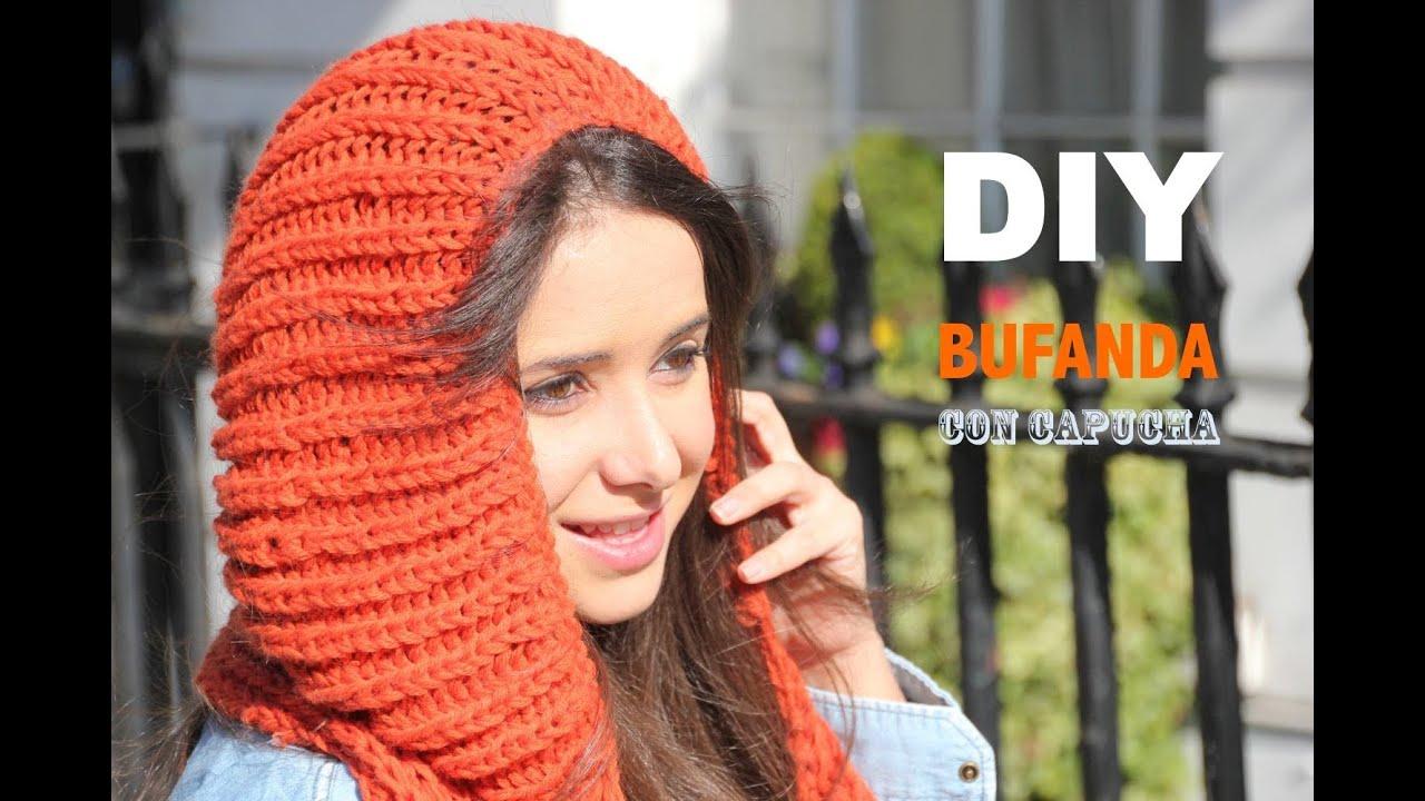 DIY Cómo hacer bufanda con capucha - YouTube
