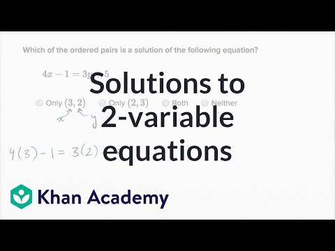 Checking Ordered Pair Solutions To Equations Example 2 | Algebra I | Khan Academy