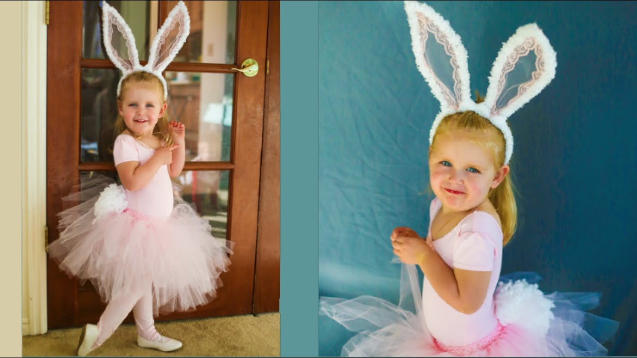 Cute Easter Bunny Costume No Sew Tutorial Youtube