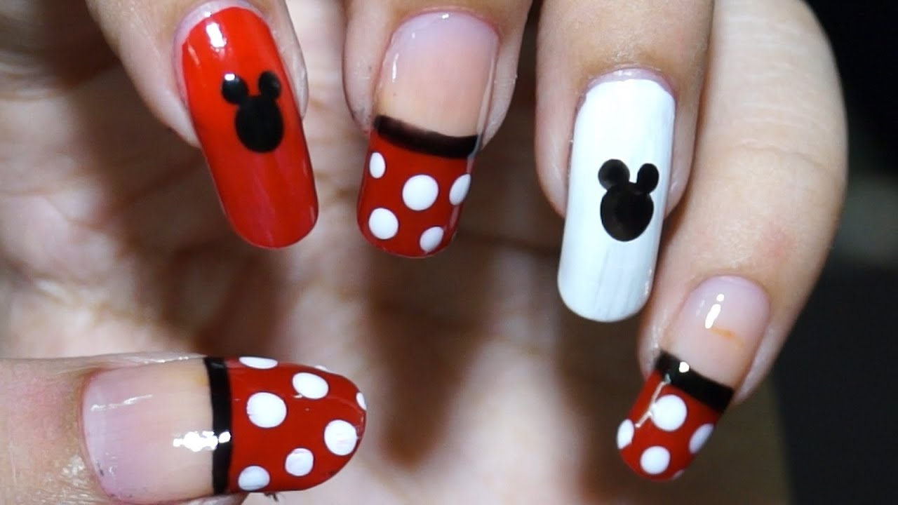 Nail Art At Home Easy Cool Mickey Mouse Design In Steps Youtube