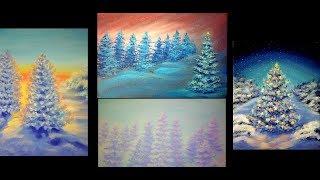КАК РИСОВАТЬ НОВОГОДНИЕ ЁЛКИ 4 картины и разные техники рисования Acrylic Painting Pine trees