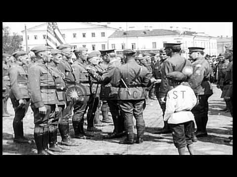 339th Infantry of the American Expeditionary Force North Russia in Archangel, Rus...HD Stock Footage