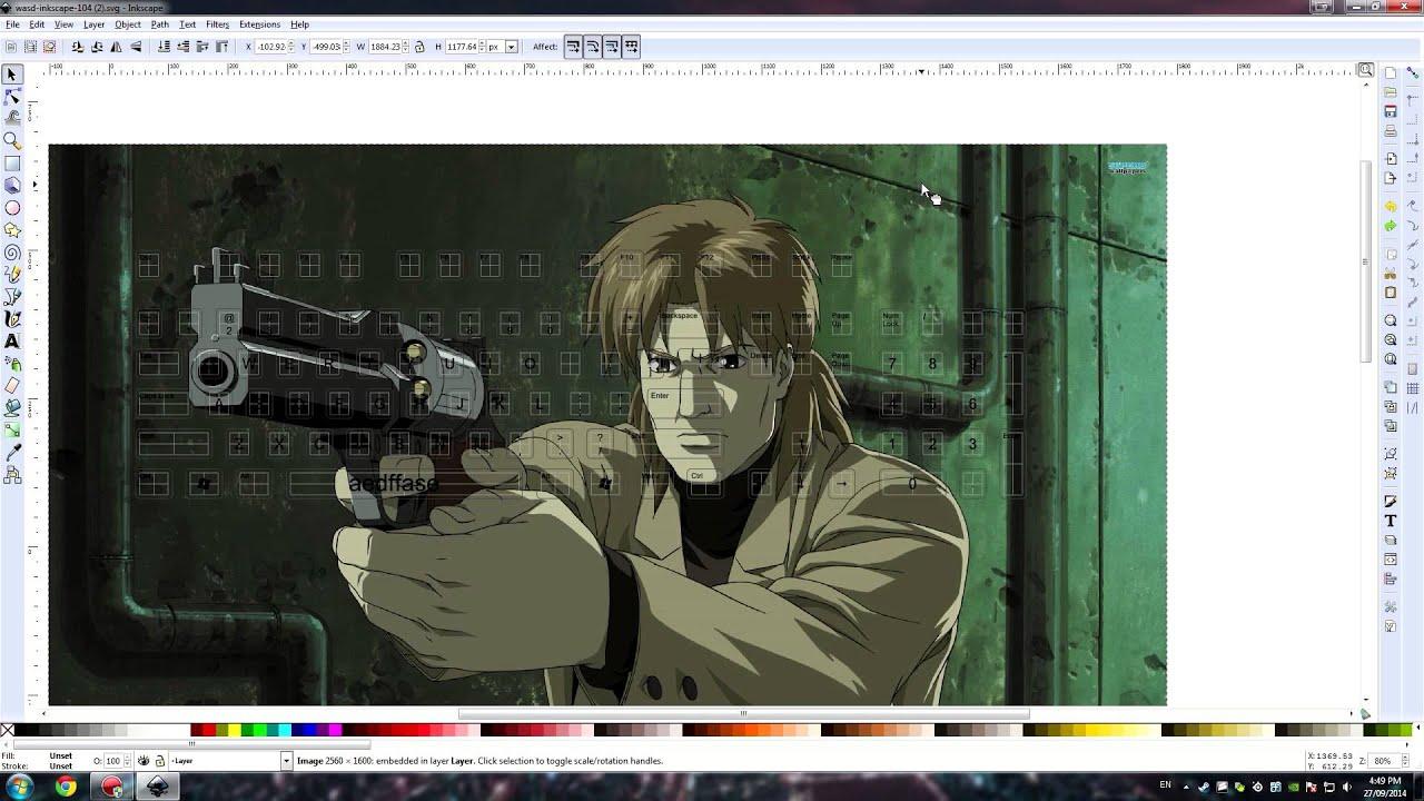 Inkscape Character Design Tutorial : Wasd custom mechanical keyboard art design tutorial