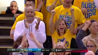 STEPHEN CURRY MISSES A 3 GETS THE REBOUND PASSES TO KD WHO MISSES BALL TIPPED AGAIN 2 CURRY FOR 3!!