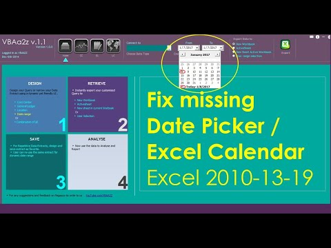 Date picker for excel 2016