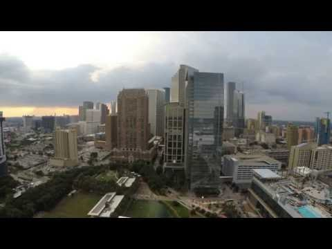 Downtown houston, tx  skyline from drone