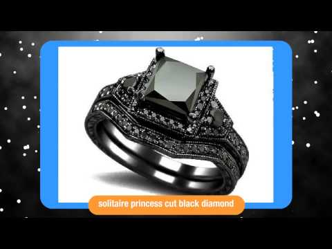 2.01ct Black Princess Cut Diamond Engagement Ring