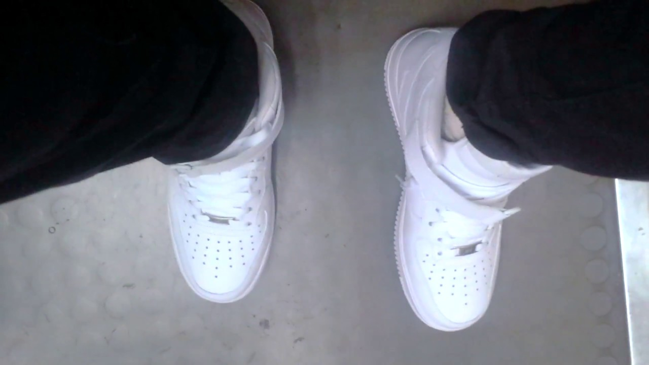 Nike Air Force 1 Mid (White on White) unboxing & on feet