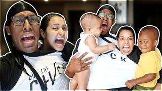 CONJOINED TWIN CHALLENGE WITH TWO BABIES!! **BAD IDEA**