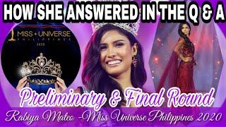 Q&A of Rabiya Mateo During the Miss Universe Philippines 2020||How Rabiya Mateo Answered the Q&A