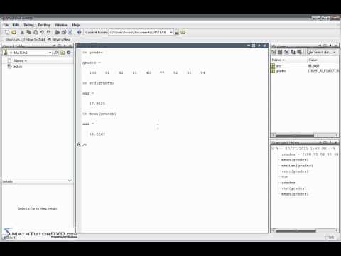 Matlab Sect 17 Calculating Mean, Median, and Standard Deviation of Data in a Vector