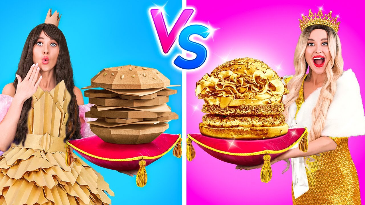 Download RICH VS POOR PRINCESS || Eating a $10,000 Golden Burger! Expensive VS Cheap Food by 123GO! FOOD
