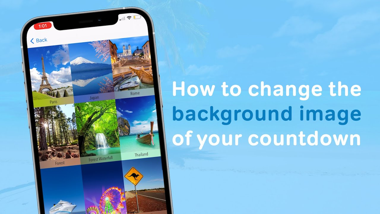 Vacation Countdown App - Change Your Background Theme