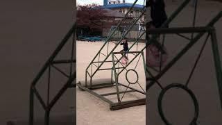 堤小学校 一輪車の練習 直ぐ乗れるよ!