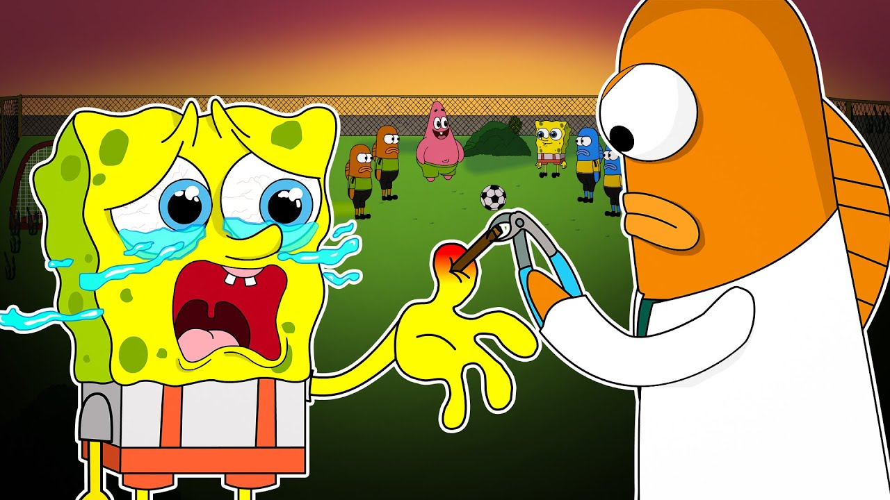SPONGEBOB CRYING :  STABBED BY THORNS TO PLAY FOOTBALL!  Poor Baby SpongeBob Life