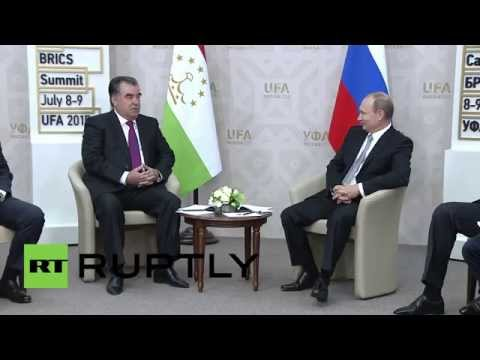 Russia: Putin meets Tajik President Rahmon at BRICS summit in Ufa