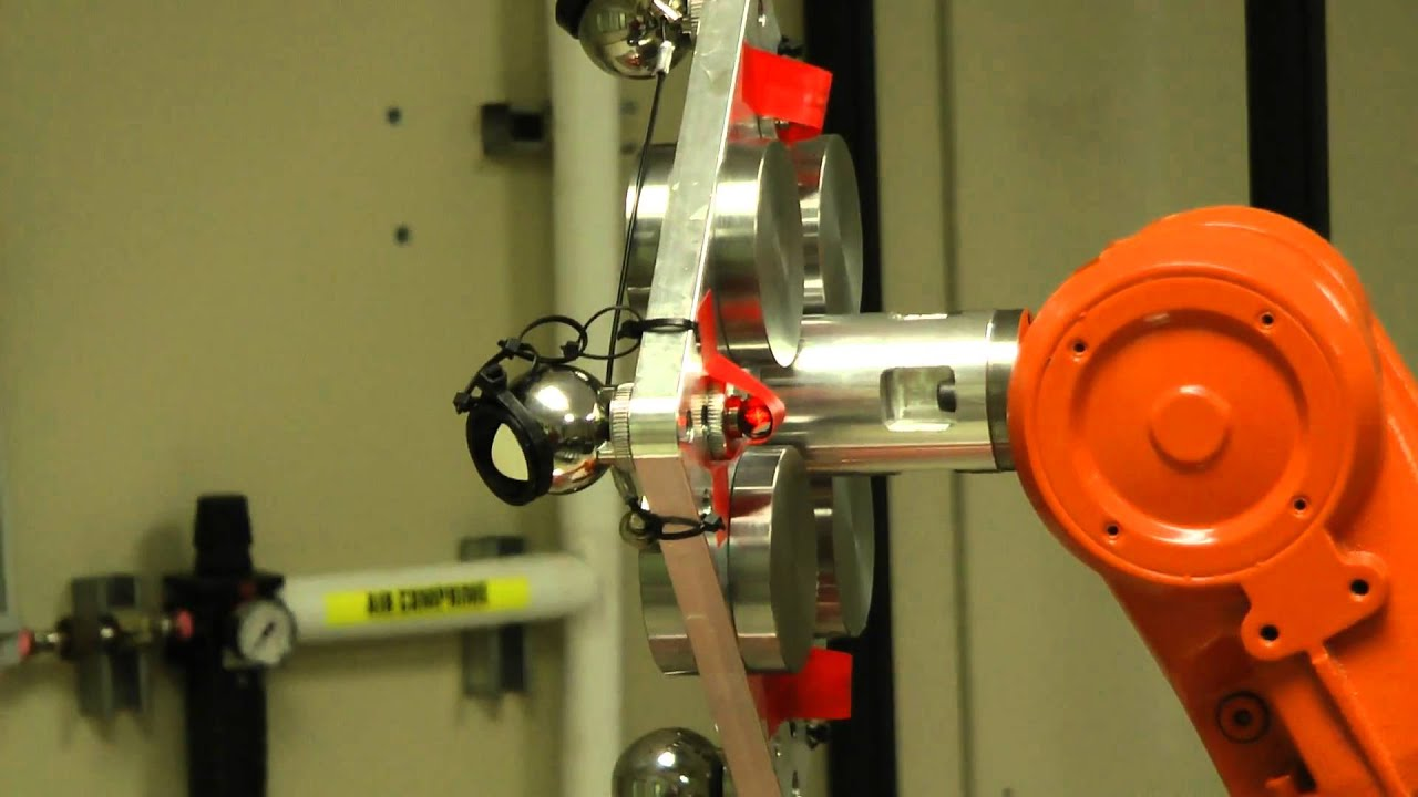 Measuring the absolute accuracy of an ABB IRB 1600 industrial robot with a Faro laser tracker