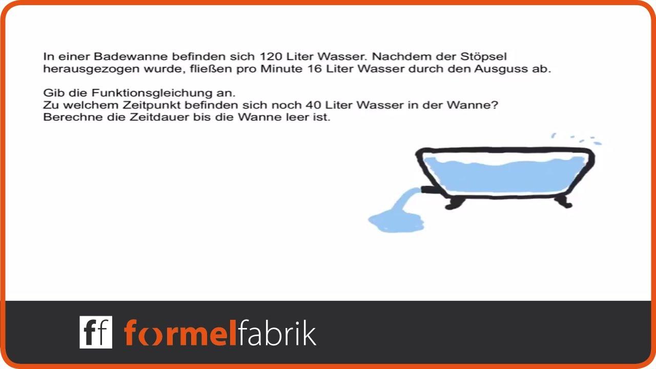 lineare funktionen funktionsgleichung aufstellen textaufgabe badewanne youtube. Black Bedroom Furniture Sets. Home Design Ideas