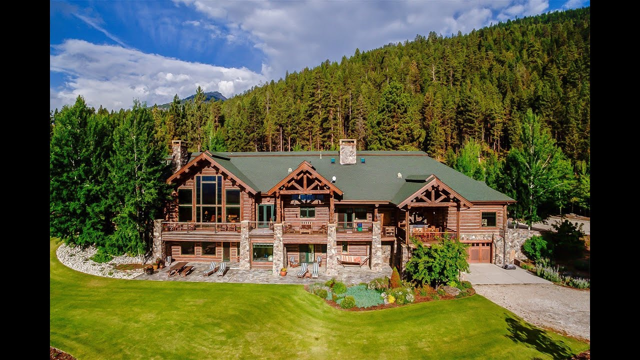 Exquisite log home in victor montana youtube for Montana home builders
