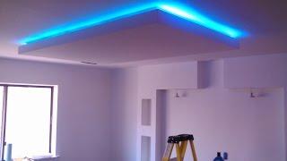 Потолок с подсветкой(http://gipsari.com/potolokgips.html Как сделать подвесной потолок из гипсокартона с подсветкой. Варианты оформления потолк..., 2016-04-27T13:32:12.000Z)