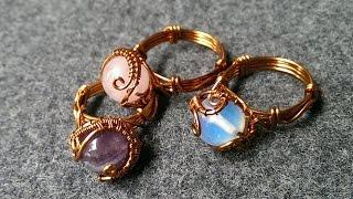 Rings with spherical stones - handmade jewelry design 122