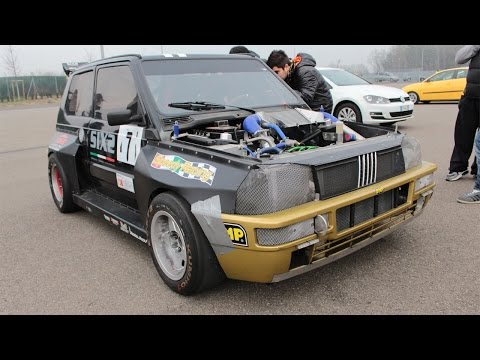 MONSTER Fiat Panda 1.2 Turbo 190HP Flames from exhaust and ride on track!
