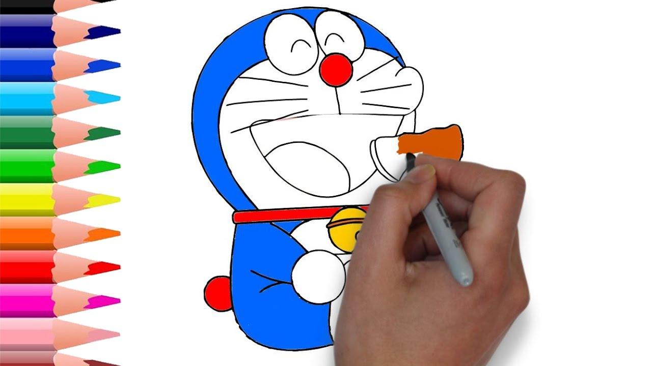 How to Draw + Color Doraemon Eating Dorayaki - Doraemon Coloring ...