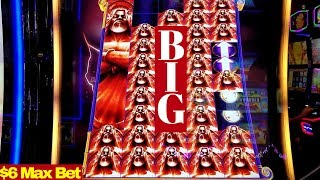 Kronos Unleashed Slot Machine $6 Max Bet BIG WIN | Lightning Respins | Max Bet DANCING DRUMS Slot
