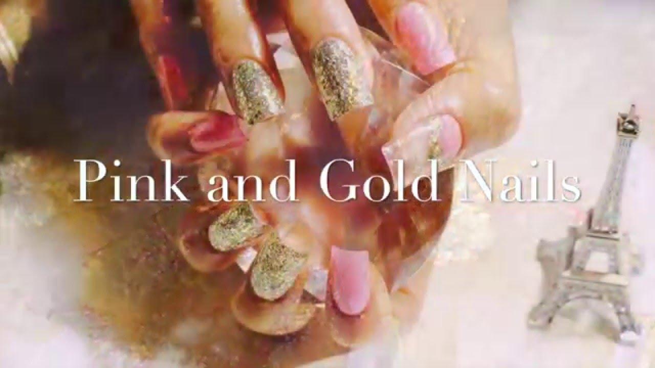Como Hacer Uñas Acrílicas Facil y Rapidas En Color Rosa y Oro - YouTube