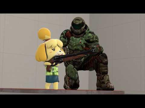 DoomGuy Teaches Isabelle to use the Super Shotgun [Fanmade SFM]