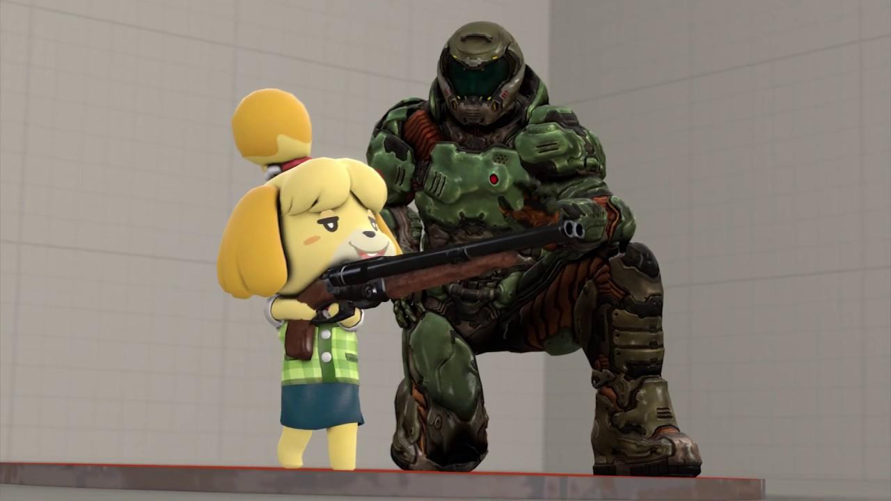 Doomguy Teaches Isabelle To Use The Super Shotgun Fanmade Sfm Youtube