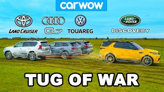 Toyota Land Cruiser, Audi Q7 & VW Touareg vs Land Rover: TUG OF WAR!