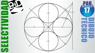 PAU #017 Circunferencias tangentes interiores a otra  (Dibujo Técnico Selectividad -- Galicia/2011)