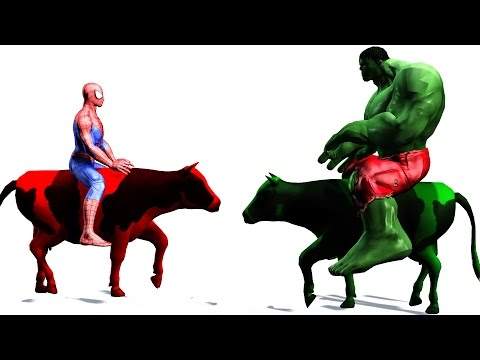 Thumbnail: Learn Colors - Supperherores Spiderman Colors Riding Cow Cartoon Videos for kids & Nursery Rhymes