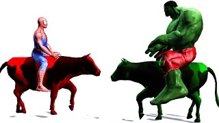 Learn Colors - Supperherores Spiderman Colors Riding Cow Cartoon Videos for kids & Nursery Rhymes
