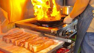 хрустящее снаружи и сочное внутри блюдо из свиной грудинки - корейская уличная еда