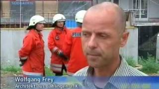 Brandversuch für das Green Building Holzhaus