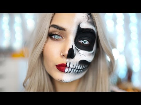 EASY HALF SKULL HALLOWEEN MAKEUP TUTORIAL Ad