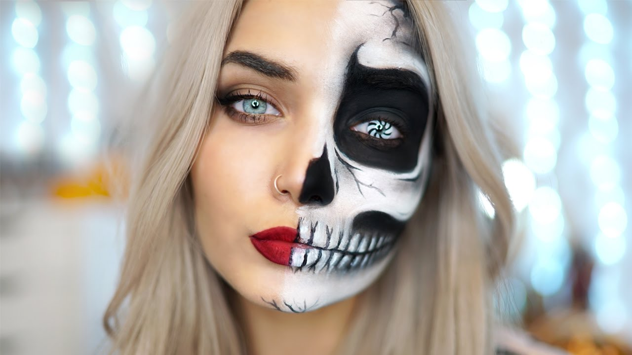 EASY HALF SKULL HALLOWEEN MAKEUP TUTORIAL Ad - YouTube