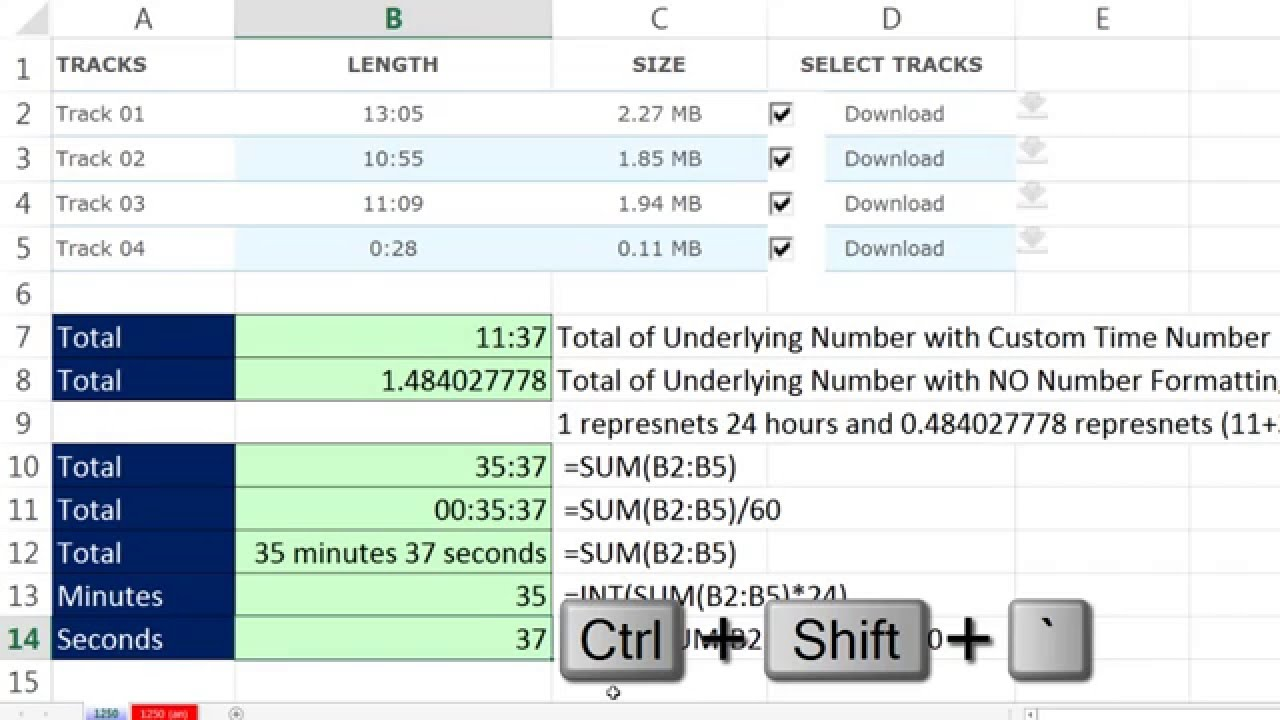 Excel Magic Trick 1250: Add Times to Get Total Minutes & Seconds From  Downloaded Music Data